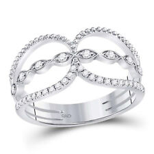 Lasso Band Ring Open Space Right Hand 14k White Gold Round Diamond Beaded Double