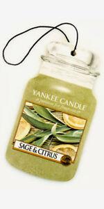 Yankee Candle Car Jar Air Freshener Fragrance-Infused Paperboard, Sage & Citrus