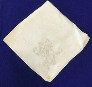 "Vintage Antique Linen Handkerchief 11"" H Monogram- NEW(old #61-(C21C)"