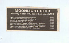 SOUND / BLURT / CHEATS + MOONLIGHT CLUB press clipping 1981 9x5cm (10/1/1981)