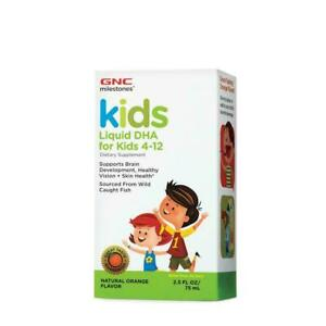 GNC Milestones Kids Liquid DHA for kids 4-12 Orange Flavor 2.5oz  (Exp:04/21)
