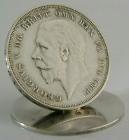 ENGLISH SOLID SILVER 1935 CROWN COIN MENU CARD HOLDER RARE HEAVY 57g ROYALTY