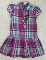 Gymboree Girls Size 5 Purple Turquoise Plaid Drop Waist Dress Great School Dress