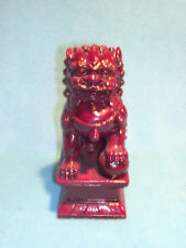 """Foo Dog Rust Patina Statue, Male Lion, Stands 6 1/2"""" Tall"""