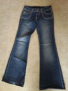 Angels Brand Flare Leg Faded Wash Stretch Denim Jeans Size 9