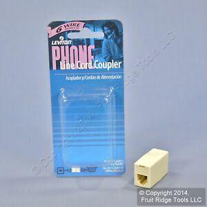 Leviton Ivory In-Line Phone Cord Coupler 6-Wire Modular Telephone RJ11 C2683-I