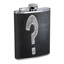 Question Mark Em1 Flask 8oz Stainless Steel Hip Drinking Whiskey