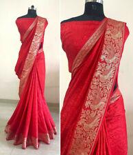 Sana Silk Jacquard Red Saree and Blouse and Border Work South Indian Saree SS