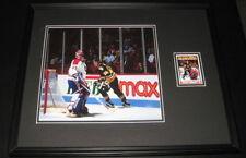 Mario Lemieux Signed Framed 16x20 Photo Display JSA vs Patrick Roy