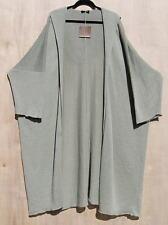 "NWT Eskandar SAGE Light Weight Linen Knit Hooded 46"" Long Cardigan O/S $1490"