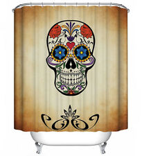 Day of the Dead Floral Skull Mask Fabric Shower Curtain 70x70 Halloween Decor