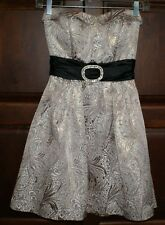 Juniors Womens Formal Cocktail Dress Homecoming Black Gold SIZE 0