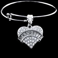 Majorette Bracelet  twirler bracelet gift  crystal heart charm  Jewelry gift