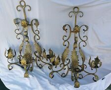 Vintage Ornate designer Pair  gold Iron Wall Sconces  candelabras french
