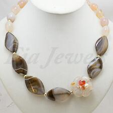 Collana di Agata Naturale Fiore intagliato Perla e Corniola Gioielli Artigianali