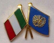 DISTINTIVO METALLO BANDIERA ITALIA E ONU SPILLA NAZIONI UNITE UNICEF O.N.U. UN