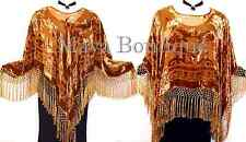 Copper Silk Burnout Velvet Poncho Fringe Top Shawl Maya Matazaro New