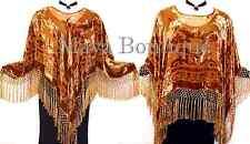 Copper Silk Burnout Velvet Poncho Fringe Top Shawl Maya Matazaro New