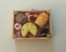 Dolls House Food. Cakes in a Wooden Crate Box Handmade New