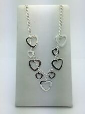 "Women Jewelry Sterling Silver Fashion Heart Necklace 19"" inches Adj. NCS-1001"