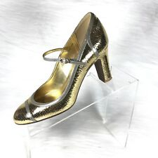 c7798a16398 J.Crew Penelope Women s Mary Jane Pump Gold  Gray Leather Heels Size 8