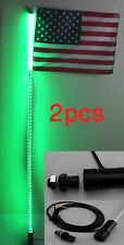 2pcs,4 feet Led light bulb whip with American flag Quick Release- Green color