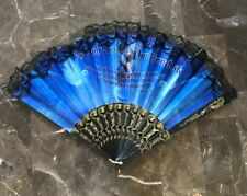 Religious Laced Spanish Style Black Blue Plastic Hand Folding Fan My Only Son.