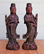 RARE VIN CHINESE HAND CARVED WOOD STATUE OF QUAN YIN WITH DRAGON - Mirror Image