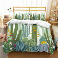 A Prickly Cactus 3D Quilt Duvet Doona Cover Set Single Double Queen King Print