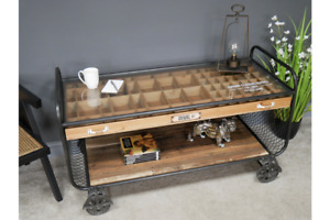 Urban Vintage Coffee Table Retro Style Table with Glass top 6824