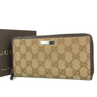 Auth GUCCI GG Logos Canvas Leather Round Zipper Long Wallet Purse 17252bkac