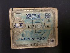 "Rare 1946 SERIES 100 ""B"" 50 SEN AND 10 SEN JAPAN MILITARY CURRENCY ~ for both"
