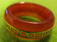 Rare Vintage 14k Solid Gold Genuine Chinese Carved Red Jadeite Ring,  7 3/4 - 8