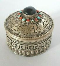 Indian metal trinket box gemstones + red lining scrollwork filigree details - P
