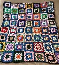 "Granny Squares Afghan Lap Blanket Handmade Crochet Multi Color Throw 51"" x 45"""