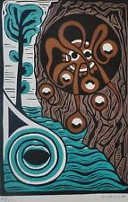 """HORST SOBOTTA """"COMPOSITION WITH TREE"""" HAND SIGNED LIM.ED 50/50 WOODCUT GERMAN"""