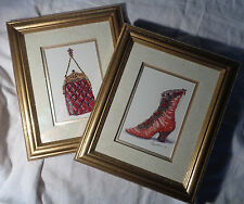 2 Peggy Abrams Victorian Shoe and Purse Art Signed and Framed