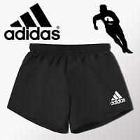 adidas Mens Black Rugby Shorts Sports Football Gym Running Sizes UK M - 3XL