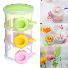 3 Tiers Layers Baby Infant Milk Powder Dispenser Container Storage Case Box Bowl