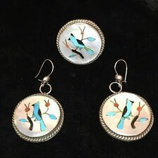 Native Sterling Mother Pearl Turquoise Coral Inlaid Bird Ring 5.5 Earrings B.B
