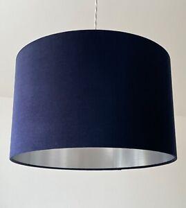 Lampshade Navy Blue Velvet Brushed Silver Drum Light Shade