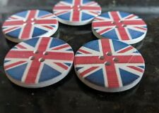 5 Large Wooden Union Jack Buttons 30mm