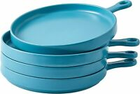 Bruntmor Porcelain 8 Inch Round Dinner Plates Set of 4 Serving Plates Teal