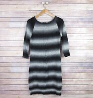 VINCE CAMUTO Women's Wool Blend 3/4 Sleeve Cable Knit Dress S Small Gray Black