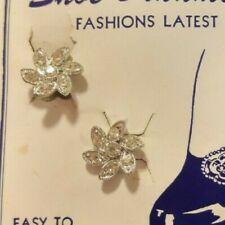 Set of vintage shoe clips silvertone flowers with rhinestones.