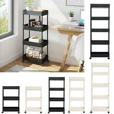 3/4/5 Tier Slim Storage Rack Slide Out Kitchen Bathroom Organizer Trolley Shelf
