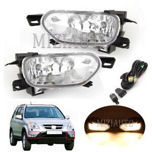 Fit For Honda CR-V CRV 2002 2003 2004 Fog Light Bumper Lamps Wiring Switch Kit