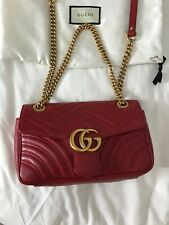 Gucci GG Marmont Matelassé Crossbody Shoulder Bag Red Leather