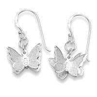 Genuine 925 Sterling Silver Fluttering Double Butterfly Hook Wire Drop Earrings