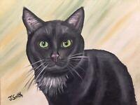 Original oil painting artwork black cat green eyes 11 x 14 signed canvas